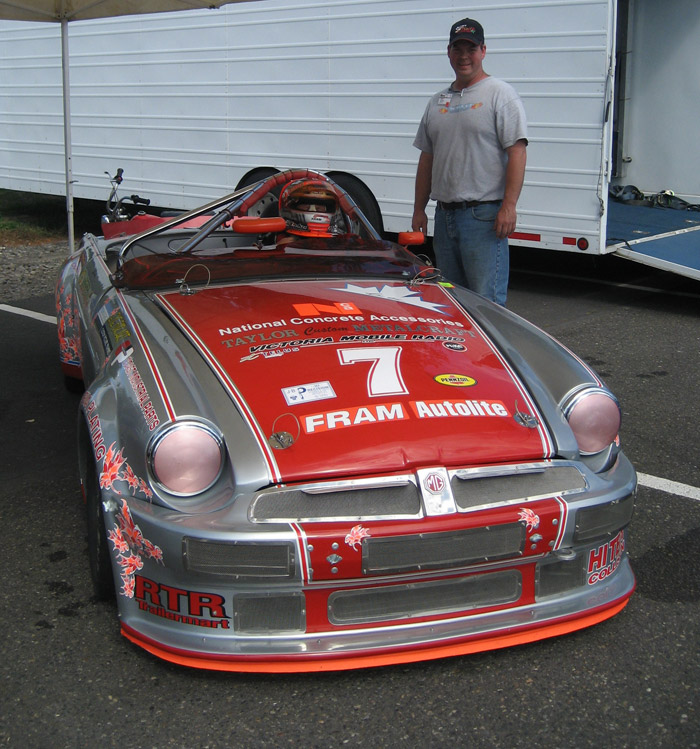 silver and red #7 MGB race car