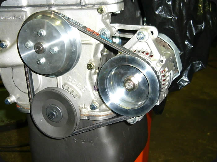 Specialty Engineering fabrication billet aluminum water pump and alternator pulley
