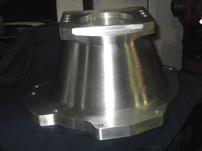 Specialty Engineering custom machining billet bell housing for race transmission side view
