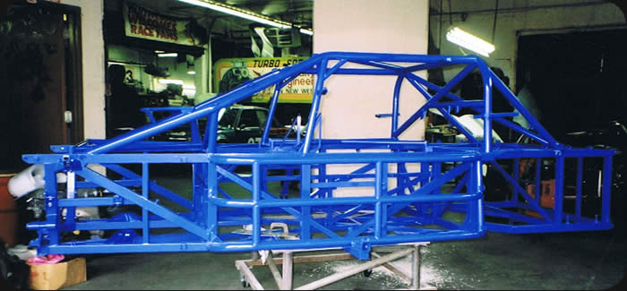 completed powder coating of race car chassis